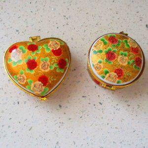 Ceramic Trinket Boxes Gold w/ Roses Design